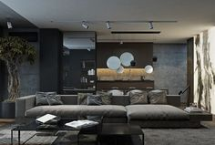 Discover the epicenter to sustaining a man's greatness with the top 100 best bachelor pad living room ideas for men. Explore cool masculine home designs. Grey Walls Living Room, Living Room Modern, Interior Design Living Room, Living Room Designs, Living Area, Living Rooms, Modern Home Interior Design, Gray Interior, Interior Ideas