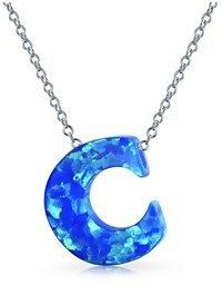 Bling Jewelry Synthetic Blue Opal .925 Silver Letter C Pendant Necklace.