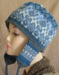 Fair Isle Earflap Hat pattern by Elaine Phillips