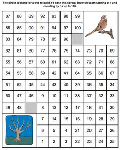 Spring counting by 1s worksheet