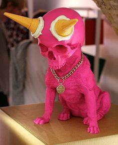 Decorative dog/ skull, pink skull, skull deco, Craneos, decoración con craneos, cool skull