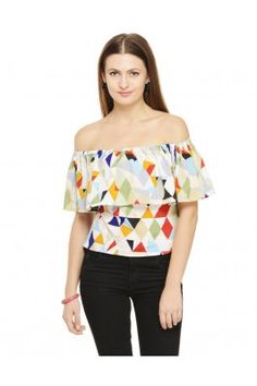 An alluring piece for a charming woman is this multicoloured poly crepe top for women Off Shoulder Tops, Off Shoulder Blouse, Trendy Tops For Women, Crepe Top, Stylish, Womens Fashion, Shirts, Fresh, Woman