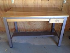 Vintage Industrial Kitchen Island repurposed from a 1960s drafting table.