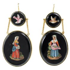 Art in Miniature: Antique Micromosaic Earrings, Italian. Earlier to mid 19th century