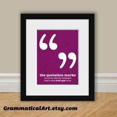 Punctuation Grammar English Print Quotation Marks Usage Funny Definition Geekery Gift Gift Teacher Gift Book Lover Typographic Print from Grammatical Art on Etsy