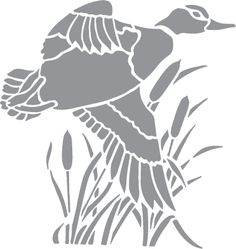 Glass etching stencil of Duck Flying over Reeds. In category: Plants, Water Fowl