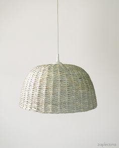 LAMPA - KREMOWA - DUŻA - zapleciona - Lampy wiszące