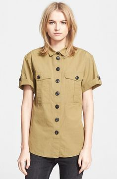 Burberry Women's Brit Roll Sleeve Cotton Shirt | Top and Clothing