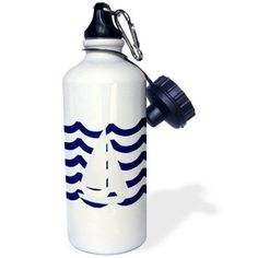3dRose White Toy Sailboat On Blue Waves, Sports Water Bottle, 21oz
