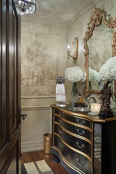 Joy Tribout Interior Design, beautiful powder room decor and vanity. Like this wallpaper Pintura Patina, Powder Room Decor, Powder Rooms, Beautiful Bathrooms, Glamorous Bathroom, Bathroom Inspiration, Design Inspiration, Dresser Inspiration, Bathroom Interior
