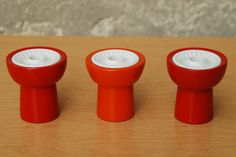 I Like Mike's Mid Century Modern - DANISH RED ORANGE LONBORG CANDLE STICK HOLDERS