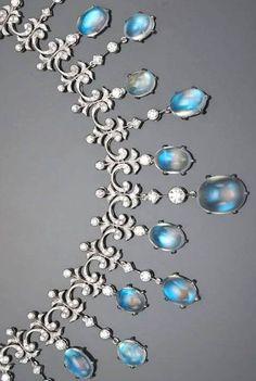 A moonstone and diamond Necklace, ca. 1905, Bonhams.