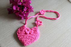 Схема вязания сумочки для девочек, сердце вязное, вязаная сумочка, сумка своими руками для девочки