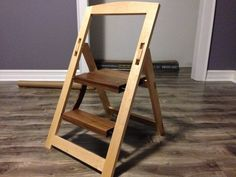 Idea of Having a Foldable Wood Step Stool — Honey Shack Dallas Folding Furniture, Woodworking Furniture Plans, Wood Furniture, Folding Stool, Woodworking Tools, Custom Woodworking, Woodworking Patterns, Woodworking Machinery, Diy Stool