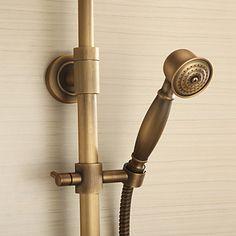antik messing badekar bruser armatur med 8 tommer brusehoved + håndbruser - DKK kr. 1.359