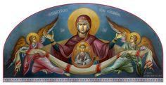 """Θεοτόκος Πλατυτέρα (έργο Μ. Αλεβυζάκη) / Theotokos """"Platytera"""" (painted by M. Alevizakis)                                                                                                                                                                                 More"""
