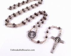 St Benedict Stainless Steel Rosary Beads Italian Medals by Unbreakable Rosaries