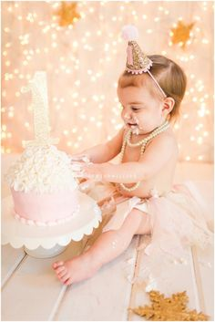 Pink & gold first birthday cake smash Mandeville, LA baby Photographer