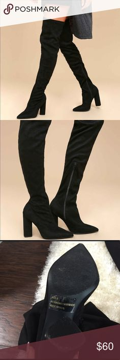 Over the knee pointed toe black suede heeled boots These beautiful soft suede boots are perfect to make any fall or winter outfit look and feel special!   Have only worn once so are in great condition. Shoes Over the Knee Boots