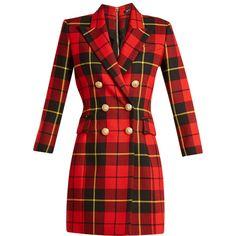 Balmain Tartan double-breasted wool mini dress ($3,029) ❤ liked on Polyvore featuring dresses, red multi, plaid dresses, slim fit dress, wool dress, long-sleeve mini dress and sleeved dresses
