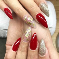 31 Snazzy New Year's Eve Nail Designs: #13. RED AND GOLD STILETTO NAILS