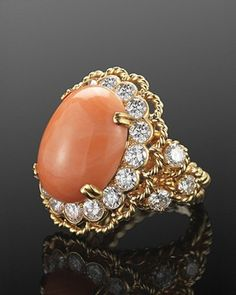 Angel Skin Coral and Diamond Ring by Van Cleef & Arpels NY, circa 1960s