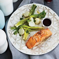 Salmon with Red Wine-Balsamic Sauce | Chef Alfred Portale serves salmon with a peppery riff on beurre rouge (a French butter sauce made with red wine).