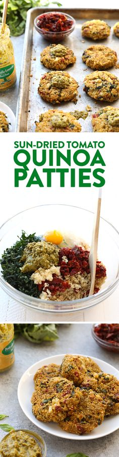 Start patio season off right with these healthy quinoa patties.They are vegetarian, packed with protein, and you can bake them in the oven or on the grill. So, go make theseSun-Dried Tomato Quinoa Patties, stat!