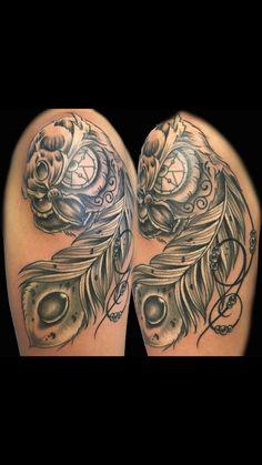 #tattoo by @tabitha_hammercheek @professional_ink #blackAndGrayTattoo #OwlTattoo