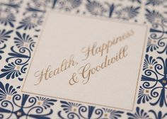 Arabella Papers Custom Holiday Cards and Invitations  - elegant, classic blue navy and gold pattern.