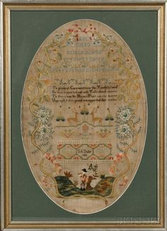 English Schoolgirl Sampler, England, c. oval shape with alphabet and poem framed by floral vine work, the lower. Embroidery Sampler, Vintage Embroidery, Embroidery Designs, Cross Stitch Samplers, Printed Linen, Textiles, Fiber Art, Needlework, Vintage World Maps