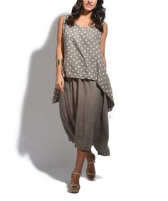 Another great find on #zulily! Taupe & White Dot Linen Blouson Dress #zulilyfinds