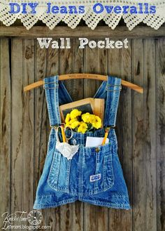 What's in YOUR Pocket?   Create this Repurposed Jeans Overalls Wall Pocket in about 5 minutes!  ~~~via http://knickoftimeinteriors.blogspot.com/  #junkersunited #repurposed