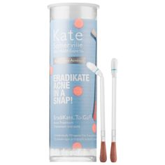 These Kate Somerville EradiKate To-Go Acne Treatment ($22) are pre-soaked cotton swabs contain pink acne treatment for a travel-friendly solution to pimples.