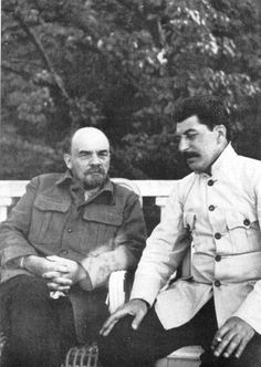 Photo of Stalin and Lenin. They weren't as close as Stalin later claimed they were, in fact, Lenin didn't trust him by the end.