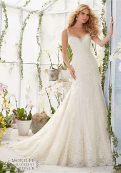 2822 Bridal Gowns / Dresses Embroidered Edging with Crystal Beading Meets the Alencon Lace Appliques and Scalloped Hemline on the Net Gown