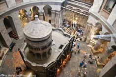"""Views of the interior and exterior of the traditional """"Tomb of Jesus"""" inside the Church of the Holy Sepulcher."""
