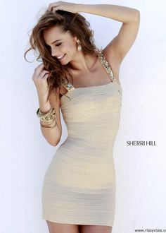 Sherri Hill 32046 - Gold Beaded Bandage Dress - RissyRoos.com