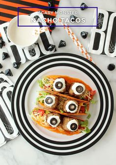Halloween monster tacos made with turkey meatballs and nacho cheese shells. | Eat Pretty