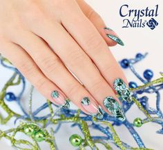#nails #nailart #naildesign #nailartdesign #christmasnails #xmasnails #winternails #bluenails Christmas Nail Art Designs, Christmas Nails, Crystal Nails, Nailart, Sapphire, Nail Designs, Crystals, Rings, Design Ideas