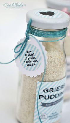 Grießpudding mit Vanille für eine 150 ml Glasflasche (für 0,5 ml Milch + 1 Ei) –   Zutaten: 60 g Grieß,  20-30 g Zucker (ich würde 20 g empfehlen),  1 Vanillezucker,  eine Prise Salz