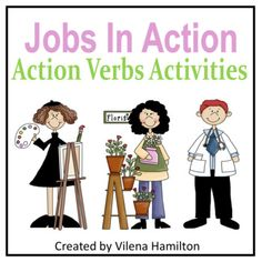 """Jobs In Action"" Action Verbs Activities by Vilena Hamilton Teaching Vocabulary, Action Verbs, Student Learning, Teacher Pay Teachers, Hamilton, Family Guy, English, Activities, Children"