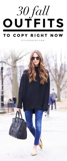 30 Amazing Fall 2015 Outfit Ideas to Copy Right Now | @ArielleCharnas of fashion blog 'Something Navy' wearing an oversized sweater, skinny jeans, and pointy-toed nude flats