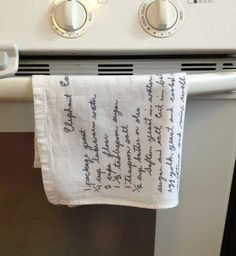 ...on a scarf? ...Great idea from smetimes homemade ? I think... Handwritten Recipes Printed on Tea Towels