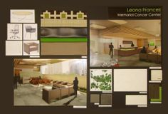 Presentation board from Interior Design student, showing CAD drawings and material samples