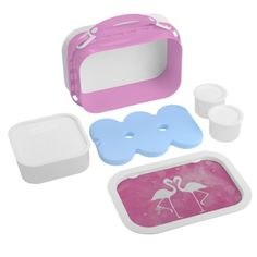 Tropical Pink Flamingos Silhouettes Lunch Box. Bring a touch of paradise to your life with this gorgeous Pink Flamingo Silhouette design! Designed by Tropic of Pearl in Australia.
