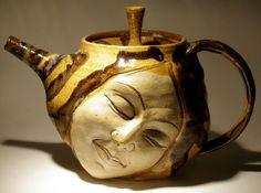 Face Teapot Serving Sculpture Ceramic Head Dreaming by AdrienArt, $135.00 #form, #inspiration