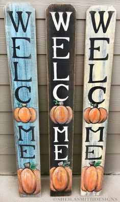 WELCOME SIGN Rustic Pumpkin Wood Welcome Sign Vertical front door welcome sign autumn welcome sign Fall welcome sign Autumn Decor Fall Fall Wood Crafts, Diy Crafts, Painted Wood Crafts, Hand Painted, Wooden Crafts, Decor Crafts, Front Porch Signs, Fall Projects, Diy Projects