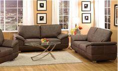Corliss Gray Brown Nubuck Fabric Living Room Set