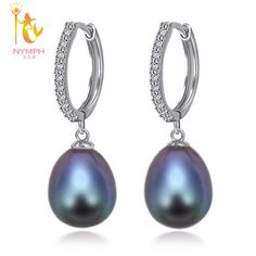 [NYMPH]Pearl Jewelry Natural Freshwater Black Pearl Earrings For Women 925 Sterling Silver Tear Drop Earrings E1059